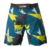 "Topten MMA Board Shorts ""Jungle"" Black/Blue/Yellow"