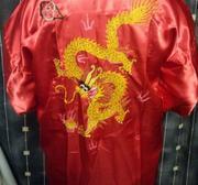 Kimono i siden med drake Röd X-Large
