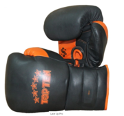 Topten Boxhandske Lace Up Pro, Svart/Orange med snörning,18 oz