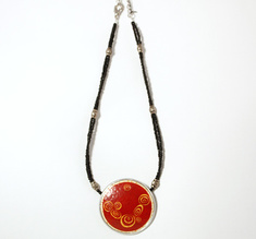 Klimt red ostrich egg necklace