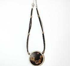Klimt black ostrich egg necklace