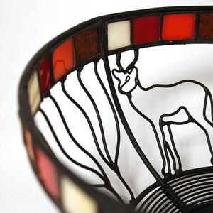 Wrought iron bowl, impala with glass