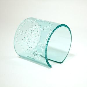 Cuff Stitched, clear aqua 60 mm