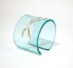 Cuff silver strips, clear aqua 50 mm