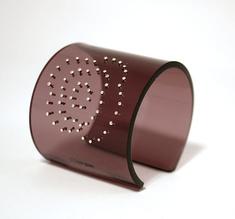 Cuff, Flower, silver dots bronze, 60 mm