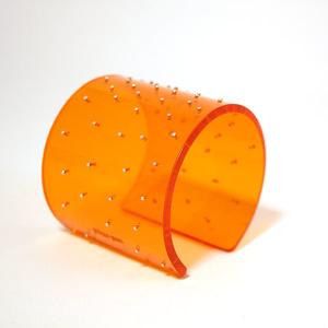 Armband Silver dots, orange 60 mm