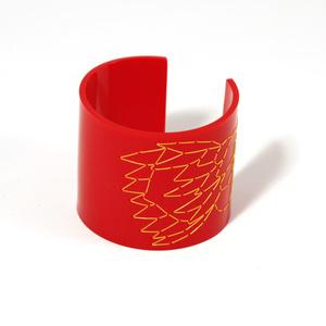 Cuff Stitched, red Protea, 60 mm