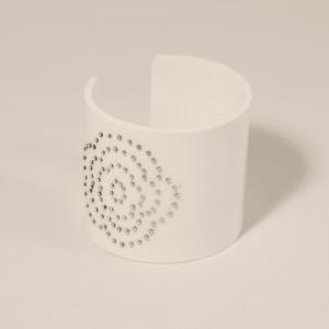 Armband Flower, silver dots vit, 60 mm