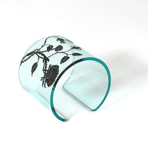 Cuff, Thorn Flower,  Clear Aqua, 60 mm