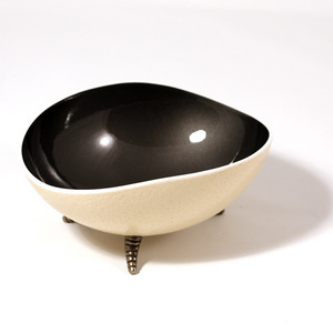 Oval charcoal coloured ostrich bowl Havana