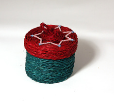 Jewellery box small, turquoise & wine red