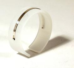 Armband Silver strip, matt vit 20 mm