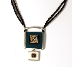 Layered Squares Teal Turqoise, ostrich egg necklace