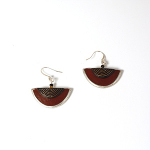 Half Moon Rust, ostrich egg Earring