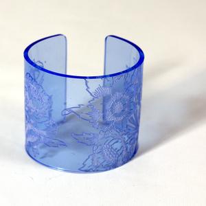 Cuff, Morris Flower, Blue, 60 mm