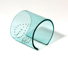 Cuff,  silver leaves clear aqua, 60 mm