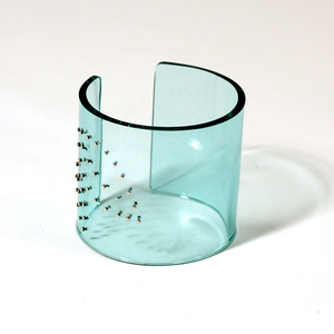 Armband silver leaves, clear aqua, 60 mm