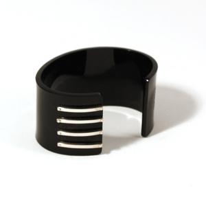 Cuff for men 4 silver strips, black 40 mm