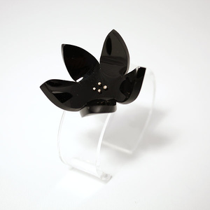 Cuff transparant with black rose, 20 mm