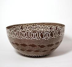 Big Shweshwe brown bowl