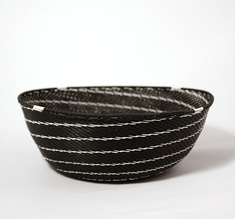 Black telephone wire bowl with white swirls