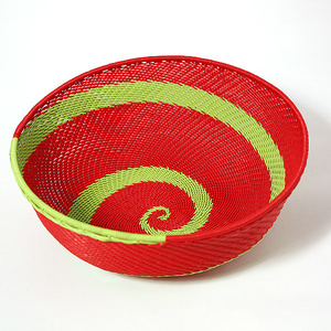 Red telephone wire bowl with lime swirls