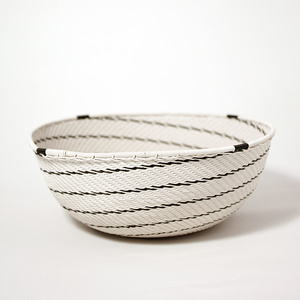 White telephone wire bowl with black swirls