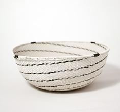White telephone wire bowl with black swirls
