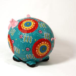 Moneybox large pig blue