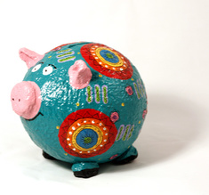Moneybox large pig blue