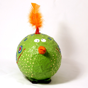Moneybox large Crazy Bird green