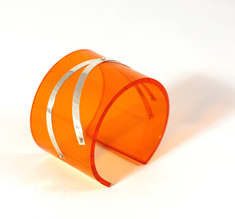 Cuff silver strips, clear orange 50 mm