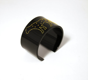 Cuff Stitched, black Leopard 40 mm