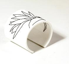 Armband Stitched, vit Strelitzia, 60 mm