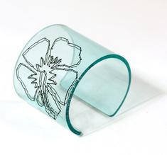 Cuff Stitched, clear aqua Hibiscus 60 mm