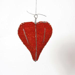 Hängande hjärta stort, rött