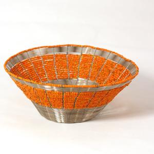 Vävd ståltrådsskål, Orange