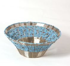 Woven wire bowl, Turqoise