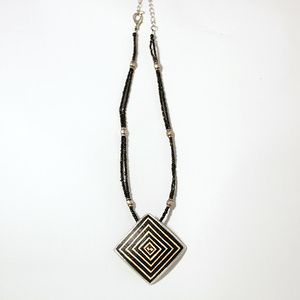 Geometric ostrich egg necklace