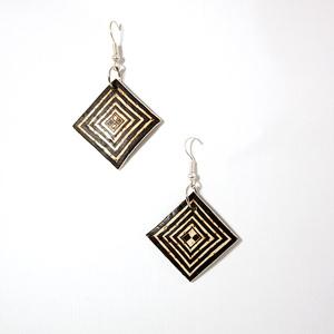 Geometric ostrich egg earrings