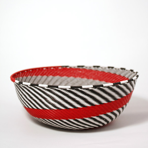 White & black & red wire bowl