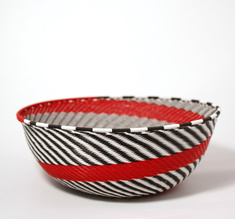 White & black & red wire bowl