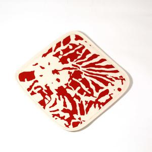 Botanical Zebra Pot holder, Laquor red