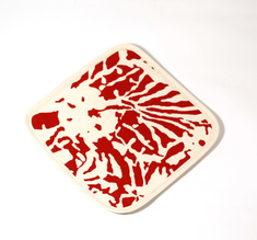 Botanical Zebra Pot holder, Laquor red