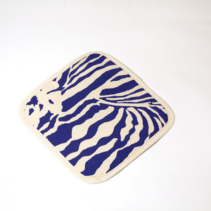Botanical Zebra Pot holder, Pacific blue