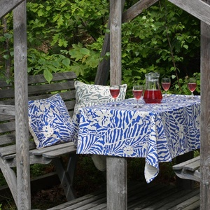 Botanical Zebra Tablecloth, Pacific blue