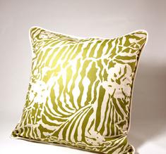 Botanical Zebra Cushion cover, Wasabi green