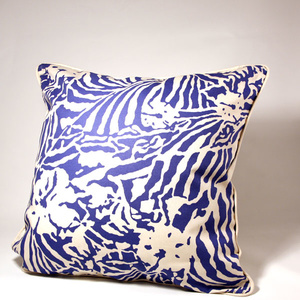 Botanical Zebra Cushion cover, Pacific blue