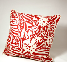 Botanical Zebra Cushion cover, Laqour red