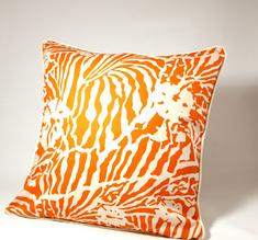 Botanical Zebra Cushion cover, Persimon